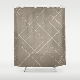 Overlapping Diamond Lines on Taupe  Shower Curtain