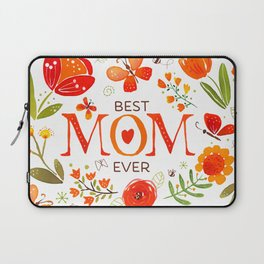 Mother's Day Watercolor Flowers and Butterflies Laptop Sleeve