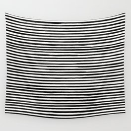 Skinny Stroke Horizontal Black on Off White Wall Tapestry