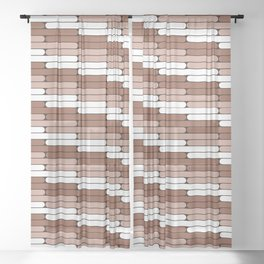 Sherwin Williams Cavern Clay Staggered Oblong Lines Illustration Sheer Curtain