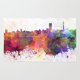 Johannesburg skyline in watercolor background Rug