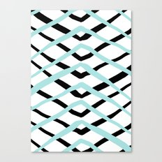 Pattern, turquoise and black Canvas Print