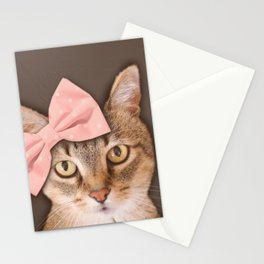 Brown Tabby Cat with Soft Pink Bow Stationery Cards