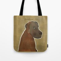lab Tote Bags featuring chocolate lab by bri.buckley