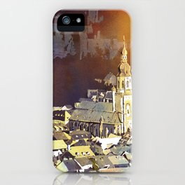Watercolor painting of steeple of 13th century Church of the Holy Spirit in city of Heidelberg, Germany iPhone Case
