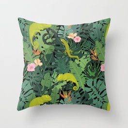 Chameleons And Salamanders In The Jungle Pattern Throw Pillow