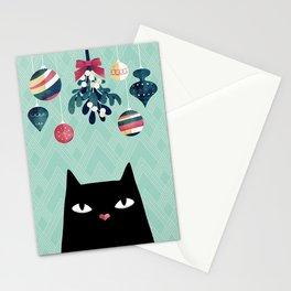 Mistletoe? (Black Cat) Stationery Cards