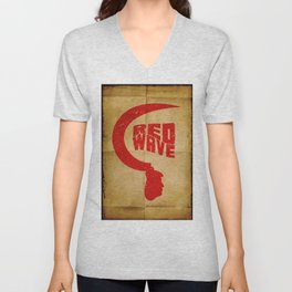 Red Wave. Unisex V-Neck