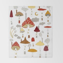 mushroom homes Throw Blanket