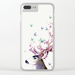 Deer and Flowers II Clear iPhone Case