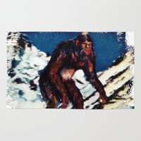 bigfoot Area & Throw Rugs featuring Bigfoot is Real by Adam Metzner
