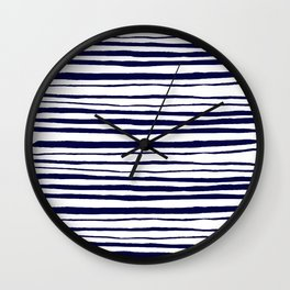 Blue- White- Stripe - Stripes - Marine - Maritime - Navy - Sea - Beach - Summer - Sailor 3 Wall Clock