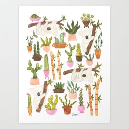 watercolor koala bears hanging out in their cactus succi garden Art Print