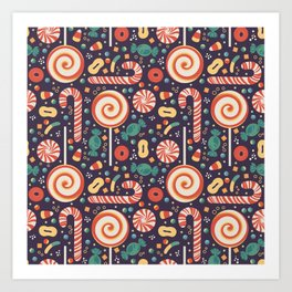 Various Candy Seamless Pattern Art Print