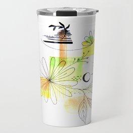 Simple Lines Flowers Travel Mug