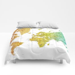 "Rainbow watercolor world map with cities ""Phoenix"" - SIZES LARGE & XL ONLY Comforters"