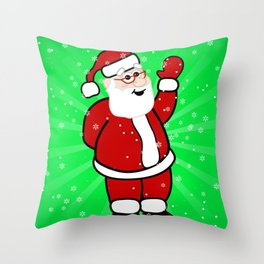 Christmas Santa in Red Suit Green Background Snow Throw Pillow