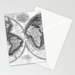 Black and White World Map (1795) 2 Stationery Cards
