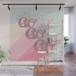 Go Go Go - Pink and Green Wall Mural