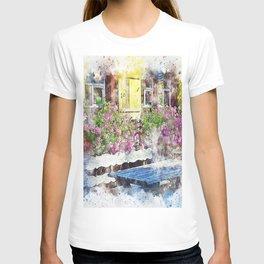 Flowers window countryside art T-shirt