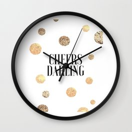 CHEERS DARLING GIFT, Wedding Quote,Anniversary Print,Gold Confetti,Cheers Sign,Champagne Quote,Celeb Wall Clock