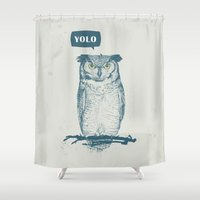 yolo Shower Curtains featuring YOLO by Balazs Solti