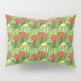 Green and Red Flowering Cactus Pattern Pillow Sham