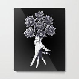 Hand with lotuses on black Metal Print