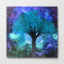 TREE MOON NEBULA DREAM Metal Print