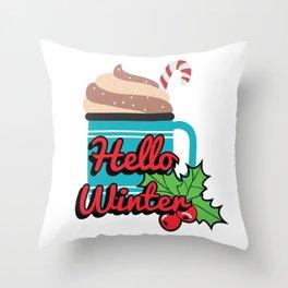 Hello Winte Hot Cocoa Throw Pillow