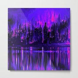 Trees Black Purple and Blue Skies Metal Print