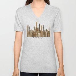 Pittsburgh skyline vintage Unisex V-Neck
