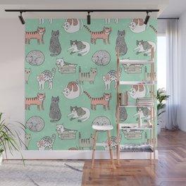 Cat pattern cute nursery cat lady kittens by andrea lauren Wall Mural
