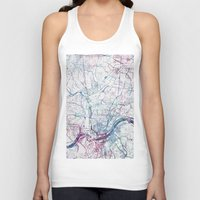 cincinnati Tank Tops featuring Cincinnati map by MapMapMaps.Watercolors