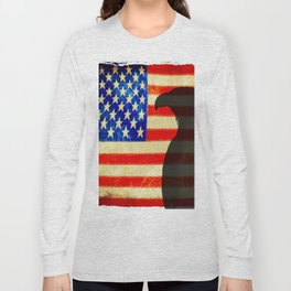 US flag with silhouette Bald Eagle Long Sleeve T-shirt