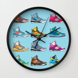 Colorful Sneaker set illustration blue illustration original pop art graphic print Wall Clock