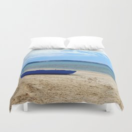Blue boat in Greece Duvet Cover