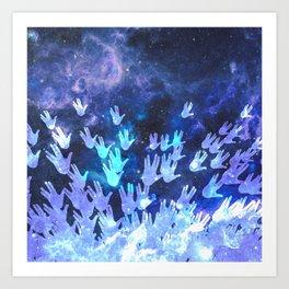 H.E.L.L.O. / blue Art Print