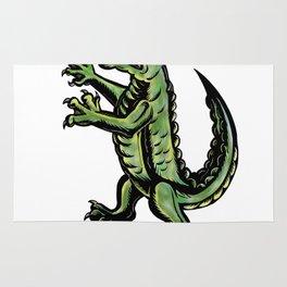Crocodile Standing Up Tattoo Rug