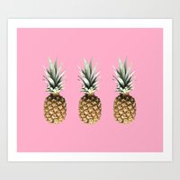 pineapples Art Prints featuring Pineapples by Yilan