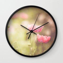 Pink Poppy Wall Clock
