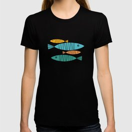 Shimmering Scandinavian Fish In Blue And Gold Pattern T-shirt