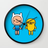 finn and jake Wall Clocks featuring #48 Jake and Finn by Brownjames Prints