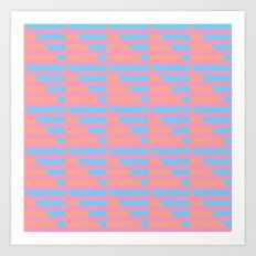 Pink Blue Peach Houndstooth /// www.pencilmeinstationery.com Art Print