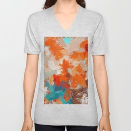 Pleasure, Abstract Brush Strokes Summer Painting, Pop of Color Bright Unisex V-Neck