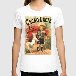 Vintage French hot chocolate advert, boy, white dog T-shirt