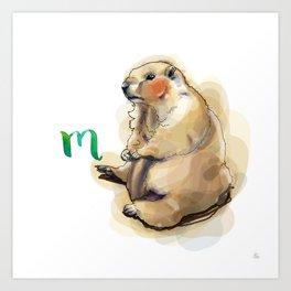 Alphabetical Animals – M for Marmot Art Print