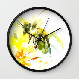 Honey Bee and Yellow Abstrac floral decor Wall Clock