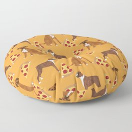 Boxer pizza party cute junk food cheese dog art pet portrait boxer dog breed must have gifts for dog Floor Pillow