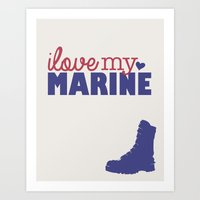 marine Art Prints featuring Marine by Adrienne DeWilde